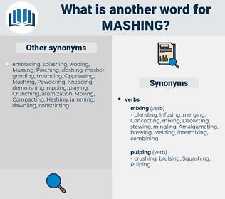 Mashing, synonym Mashing, another word for Mashing, words like Mashing, thesaurus Mashing
