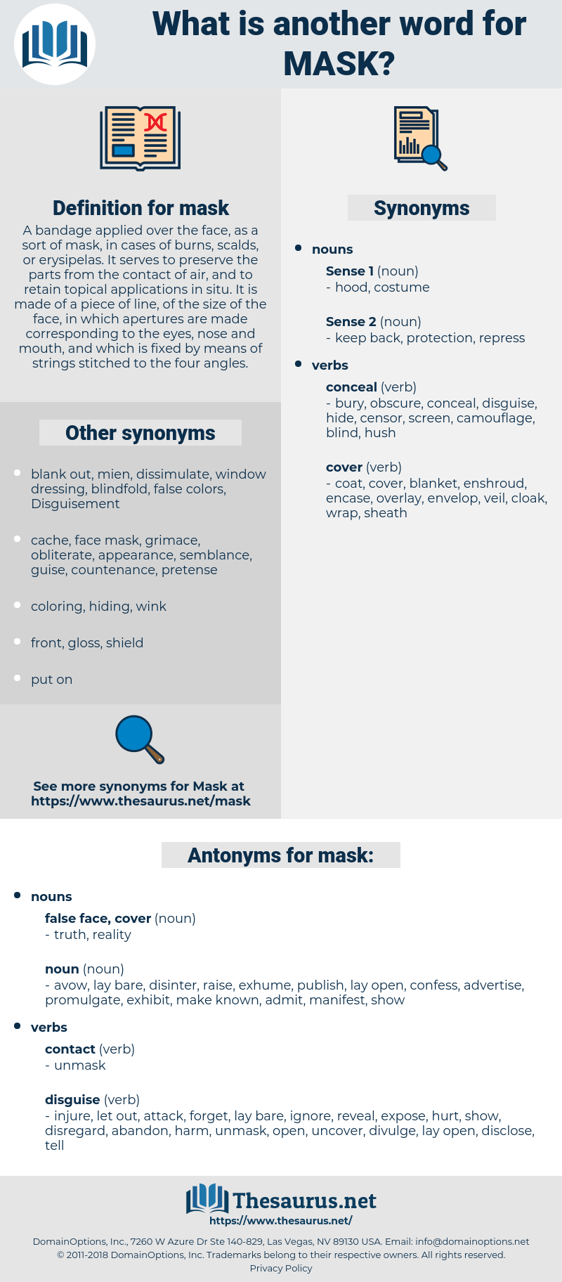mask, synonym mask, another word for mask, words like mask, thesaurus mask