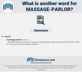 massage parlor, synonym massage parlor, another word for massage parlor, words like massage parlor, thesaurus massage parlor
