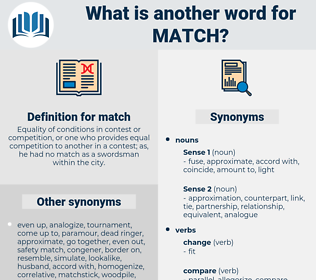 match, synonym match, another word for match, words like match, thesaurus match