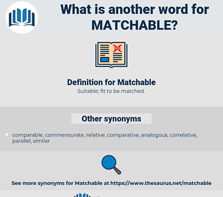 Matchable, synonym Matchable, another word for Matchable, words like Matchable, thesaurus Matchable