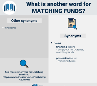 matching funds, synonym matching funds, another word for matching funds, words like matching funds, thesaurus matching funds