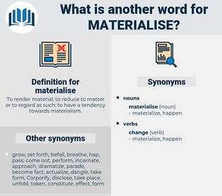 materialise, synonym materialise, another word for materialise, words like materialise, thesaurus materialise