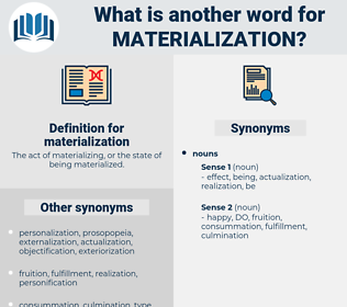 materialization, synonym materialization, another word for materialization, words like materialization, thesaurus materialization