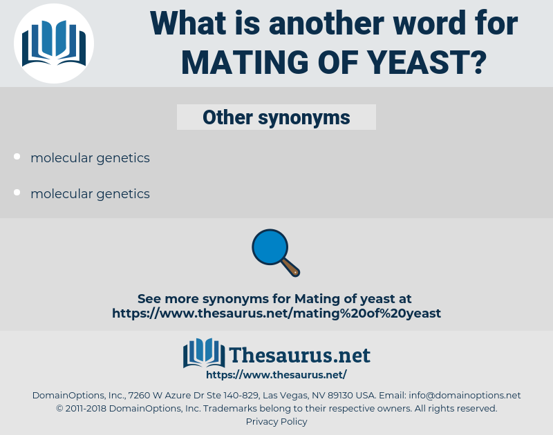 mating of yeast, synonym mating of yeast, another word for mating of yeast, words like mating of yeast, thesaurus mating of yeast