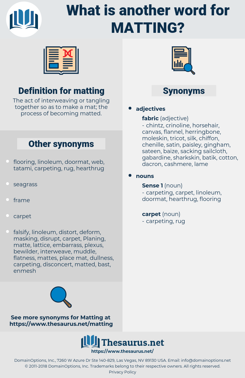 matting, synonym matting, another word for matting, words like matting, thesaurus matting