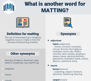 matting, synonym matting, another word for matting, words like matting, thesaurus matting