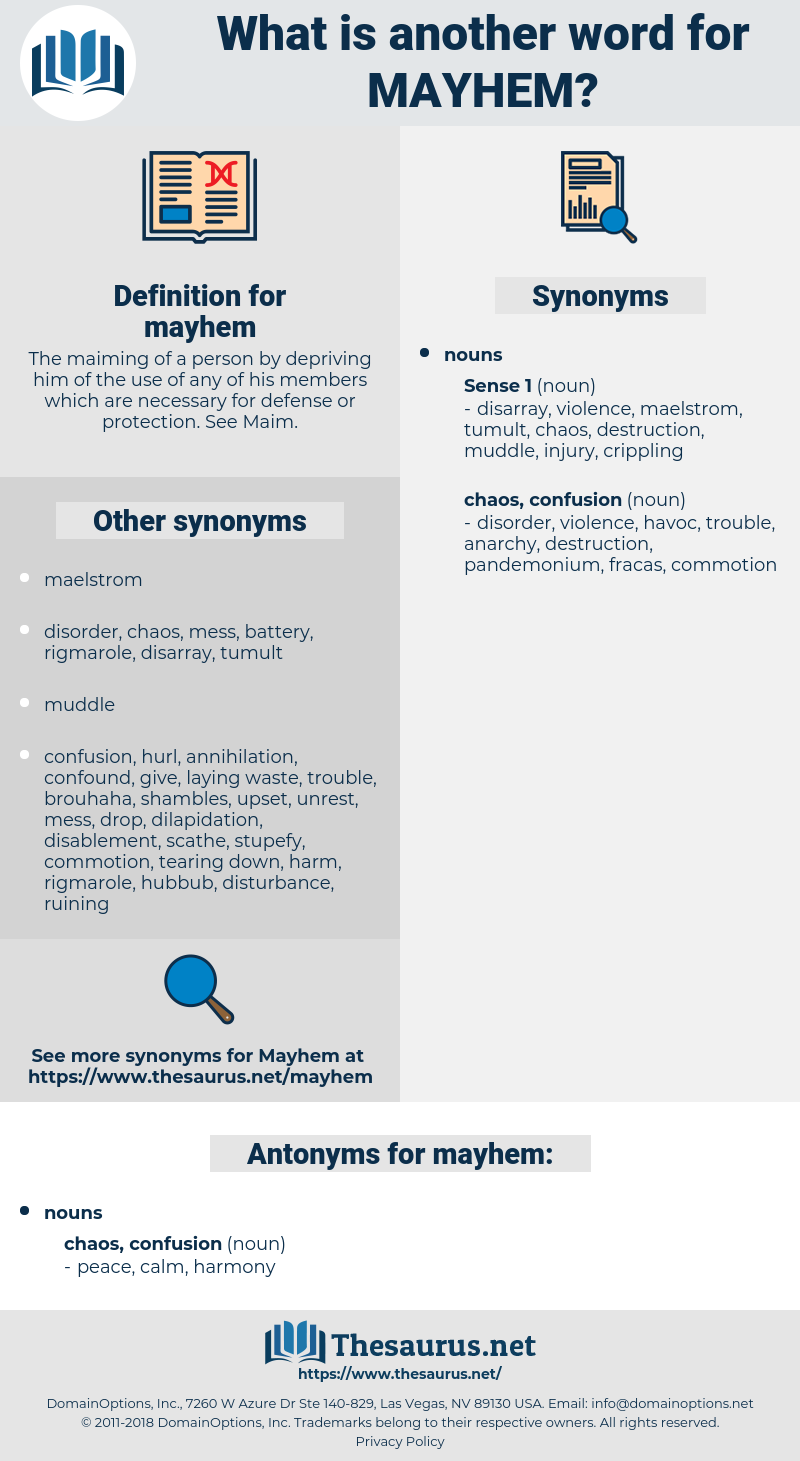 mayhem, synonym mayhem, another word for mayhem, words like mayhem, thesaurus mayhem
