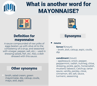 mayonnaise, synonym mayonnaise, another word for mayonnaise, words like mayonnaise, thesaurus mayonnaise