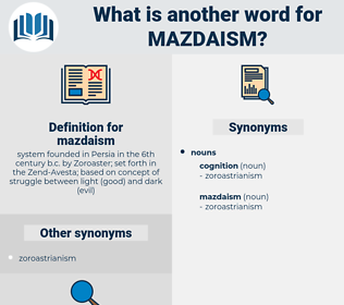 mazdaism, synonym mazdaism, another word for mazdaism, words like mazdaism, thesaurus mazdaism
