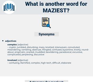 maziest, synonym maziest, another word for maziest, words like maziest, thesaurus maziest