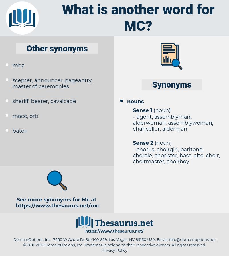 mc, synonym mc, another word for mc, words like mc, thesaurus mc