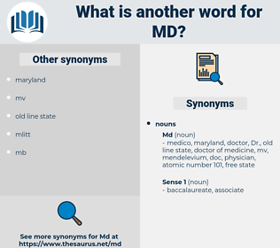 md, synonym md, another word for md, words like md, thesaurus md
