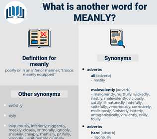 meanly, synonym meanly, another word for meanly, words like meanly, thesaurus meanly