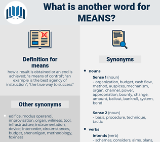 means, synonym means, another word for means, words like means, thesaurus means
