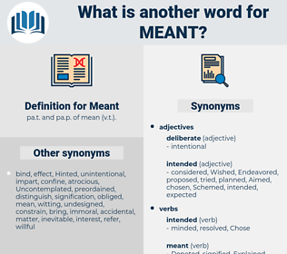 Meant, synonym Meant, another word for Meant, words like Meant, thesaurus Meant