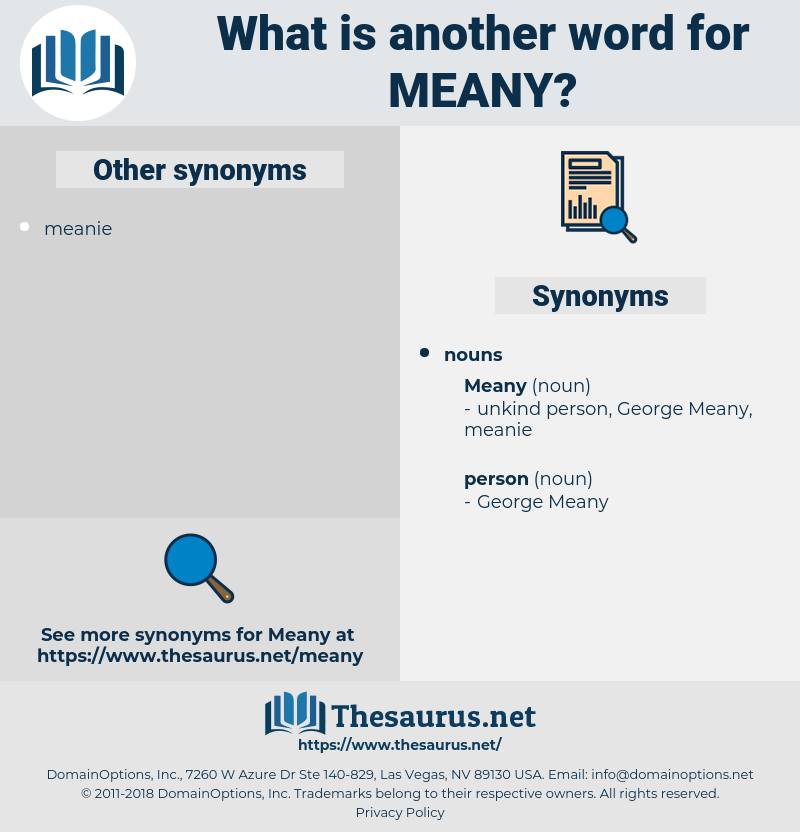 meany, synonym meany, another word for meany, words like meany, thesaurus meany