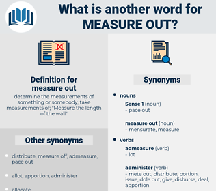 measure out, synonym measure out, another word for measure out, words like measure out, thesaurus measure out