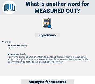 measured out, synonym measured out, another word for measured out, words like measured out, thesaurus measured out