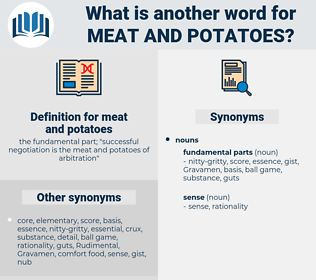 meat and potatoes, synonym meat and potatoes, another word for meat and potatoes, words like meat and potatoes, thesaurus meat and potatoes
