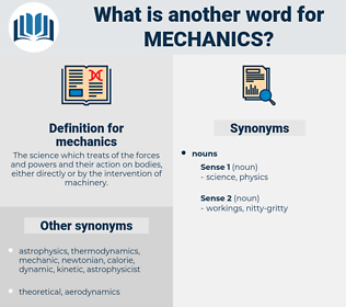 mechanics, synonym mechanics, another word for mechanics, words like mechanics, thesaurus mechanics