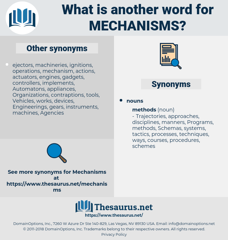 mechanisms, synonym mechanisms, another word for mechanisms, words like mechanisms, thesaurus mechanisms