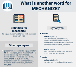 mechanize, synonym mechanize, another word for mechanize, words like mechanize, thesaurus mechanize