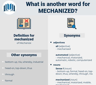 mechanized, synonym mechanized, another word for mechanized, words like mechanized, thesaurus mechanized