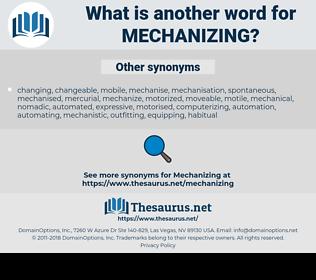 Mechanizing, synonym Mechanizing, another word for Mechanizing, words like Mechanizing, thesaurus Mechanizing