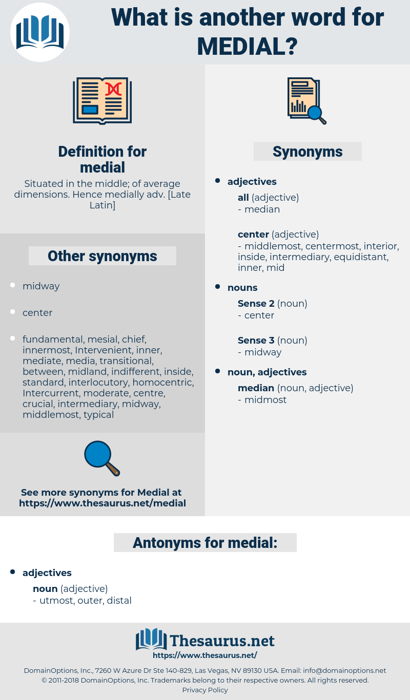 medial, synonym medial, another word for medial, words like medial, thesaurus medial