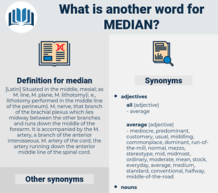 median, synonym median, another word for median, words like median, thesaurus median