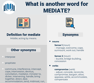 mediate, synonym mediate, another word for mediate, words like mediate, thesaurus mediate