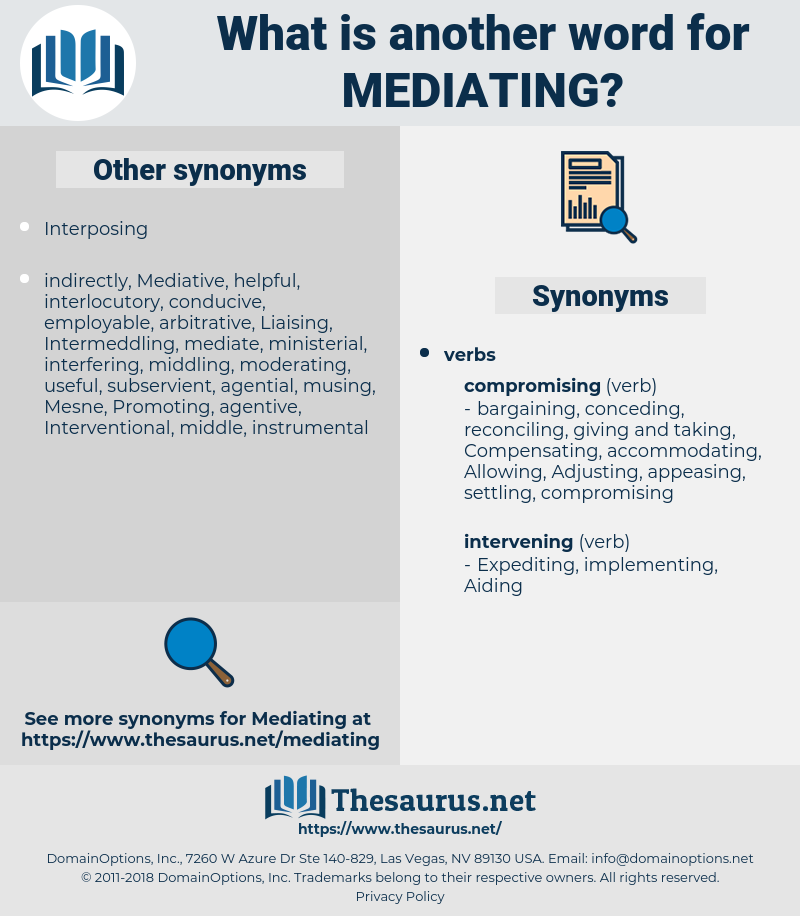 Mediating, synonym Mediating, another word for Mediating, words like Mediating, thesaurus Mediating