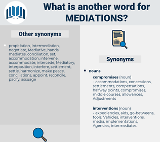 mediations, synonym mediations, another word for mediations, words like mediations, thesaurus mediations