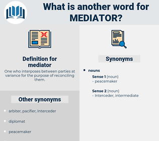 mediator, synonym mediator, another word for mediator, words like mediator, thesaurus mediator