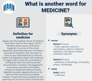 medicine, synonym medicine, another word for medicine, words like medicine, thesaurus medicine