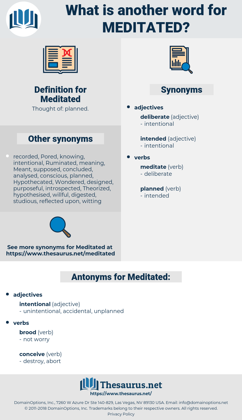 Meditated, synonym Meditated, another word for Meditated, words like Meditated, thesaurus Meditated