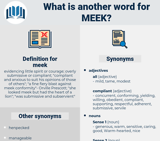 meek, synonym meek, another word for meek, words like meek, thesaurus meek