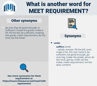 meet requirement, synonym meet requirement, another word for meet requirement, words like meet requirement, thesaurus meet requirement