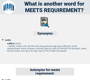 meets requirement, synonym meets requirement, another word for meets requirement, words like meets requirement, thesaurus meets requirement