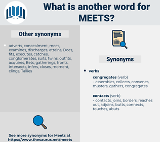 meets, synonym meets, another word for meets, words like meets, thesaurus meets