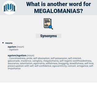 megalomanias, synonym megalomanias, another word for megalomanias, words like megalomanias, thesaurus megalomanias