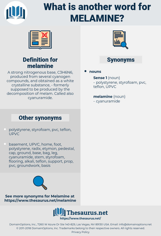 Synonyms for MELAMINE - Thesaurus net