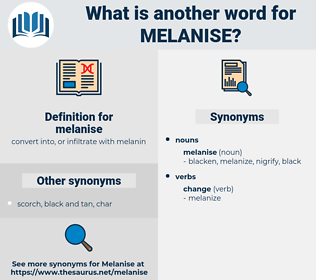 melanise, synonym melanise, another word for melanise, words like melanise, thesaurus melanise