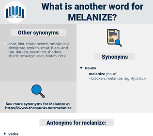melanize, synonym melanize, another word for melanize, words like melanize, thesaurus melanize