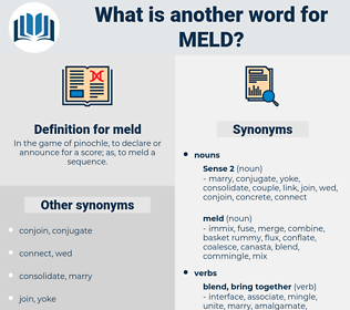 meld, synonym meld, another word for meld, words like meld, thesaurus meld