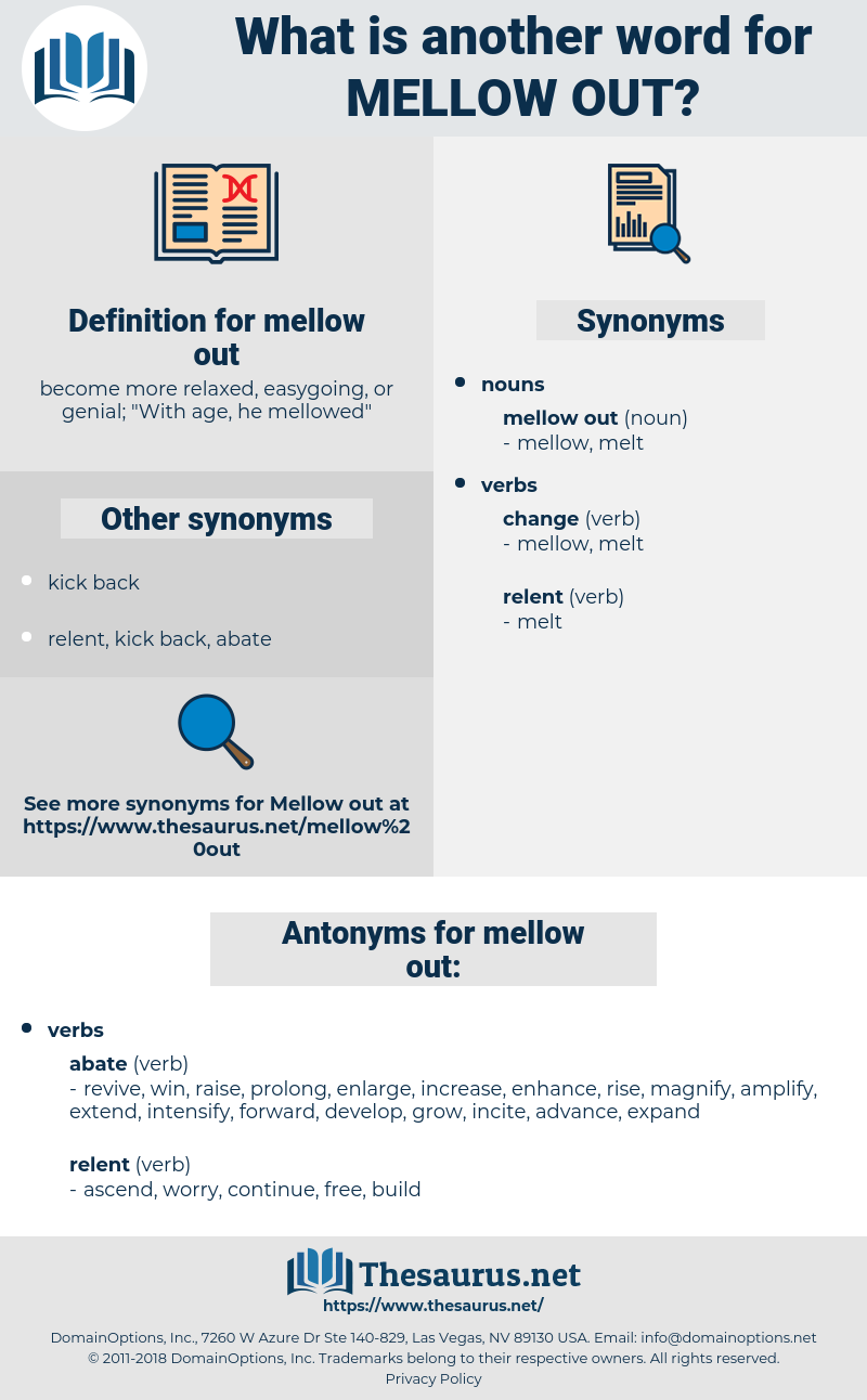 mellow out, synonym mellow out, another word for mellow out, words like mellow out, thesaurus mellow out