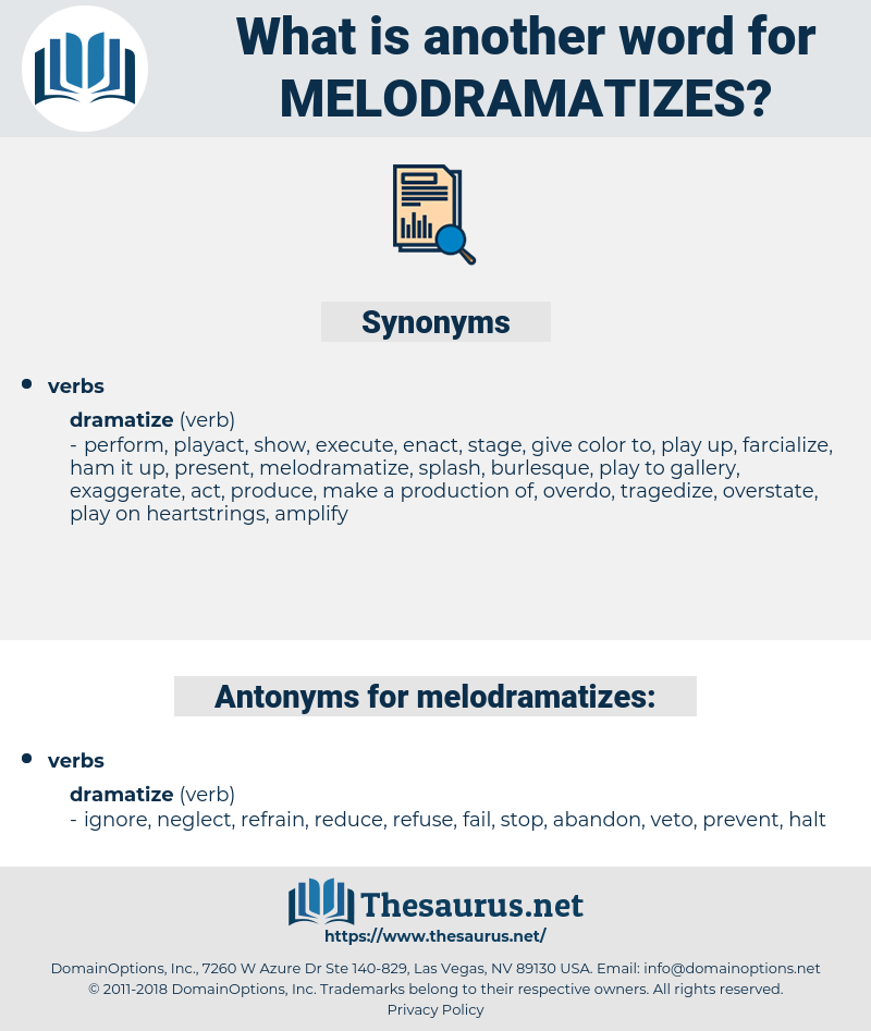 melodramatizes, synonym melodramatizes, another word for melodramatizes, words like melodramatizes, thesaurus melodramatizes