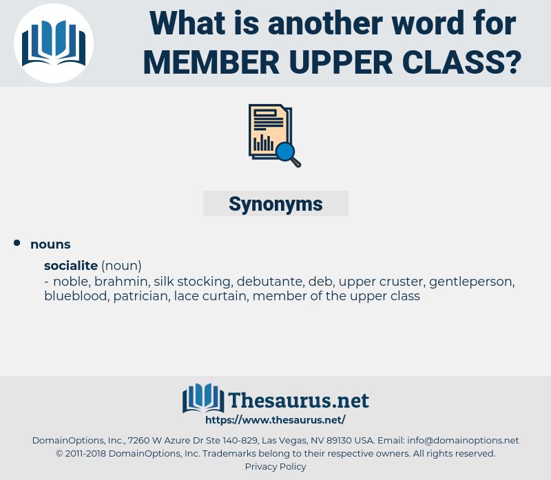 member upper class, synonym member upper class, another word for member upper class, words like member upper class, thesaurus member upper class