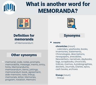 memoranda, synonym memoranda, another word for memoranda, words like memoranda, thesaurus memoranda